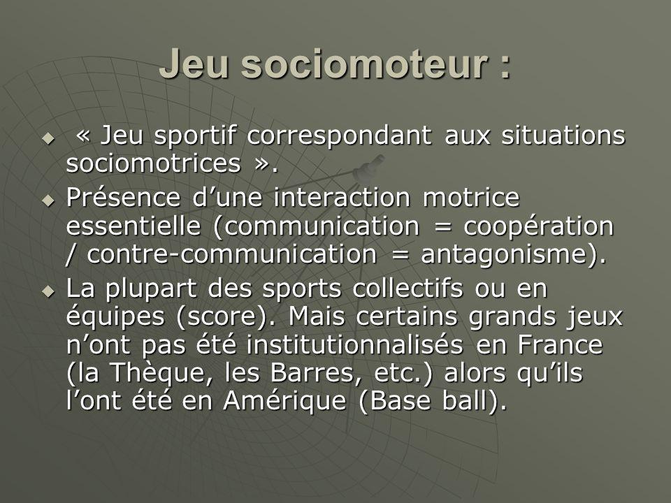 Jeu sociomoteur : « Jeu sportif correspondant aux situations sociomotrices ».