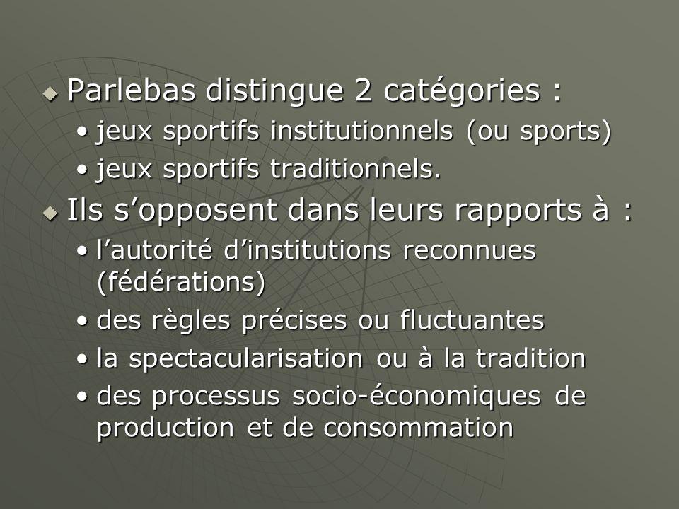 Parlebas distingue 2 catégories :