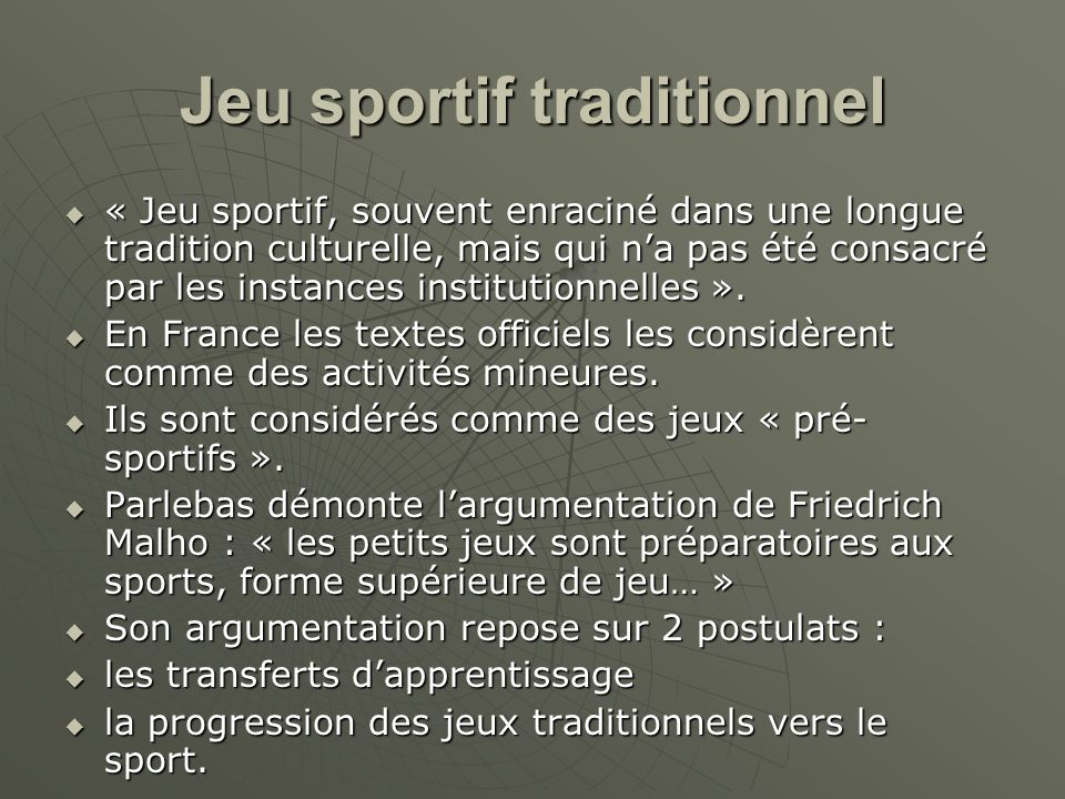 Jeu sportif traditionnel