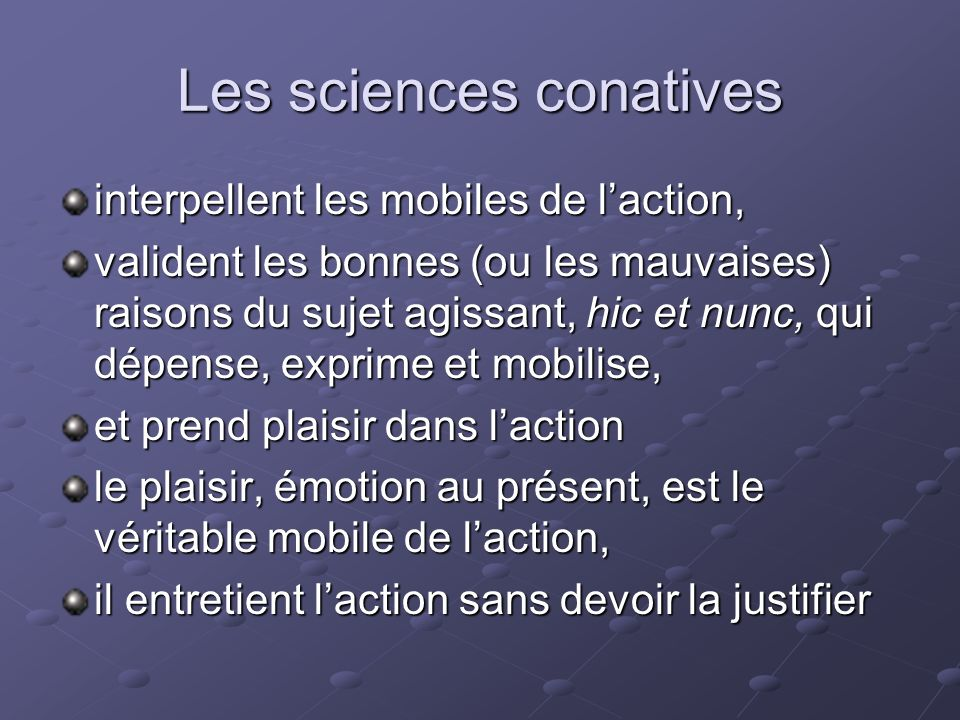 Les sciences conatives
