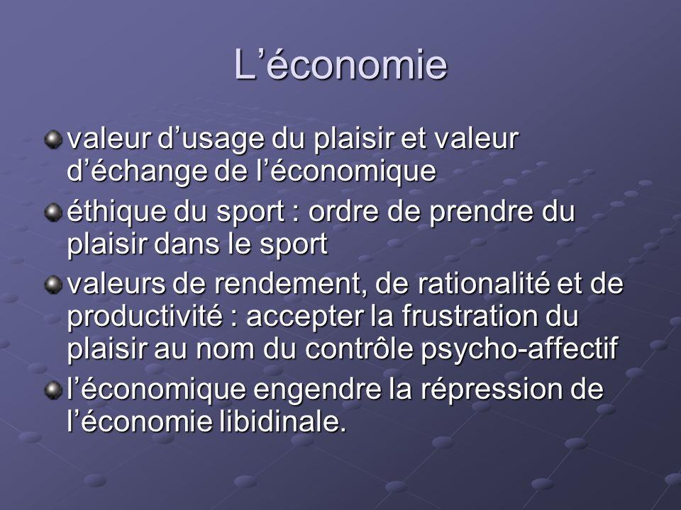 L'économie valeur d'usage du plaisir et valeur d'échange de l'économique. éthique du sport : ordre de prendre du plaisir dans le sport.
