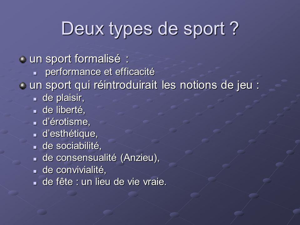 Deux types de sport un sport formalisé :