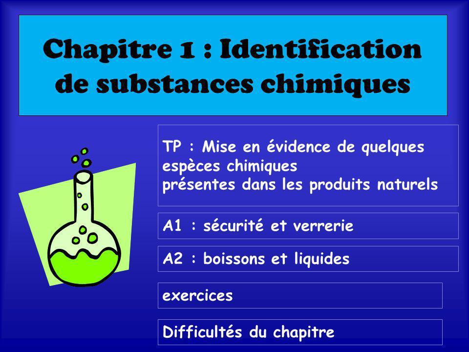 Chapitre 1 : Identification de substances chimiques