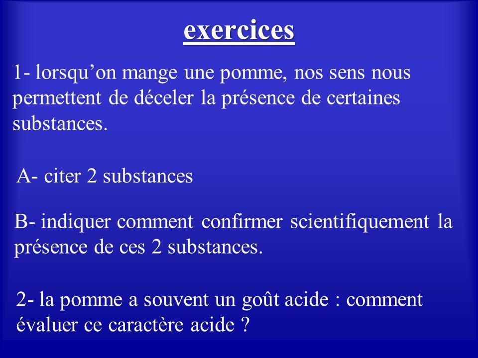 exercices 1- lorsqu'on mange une pomme, nos sens nous permettent de déceler la présence de certaines substances.