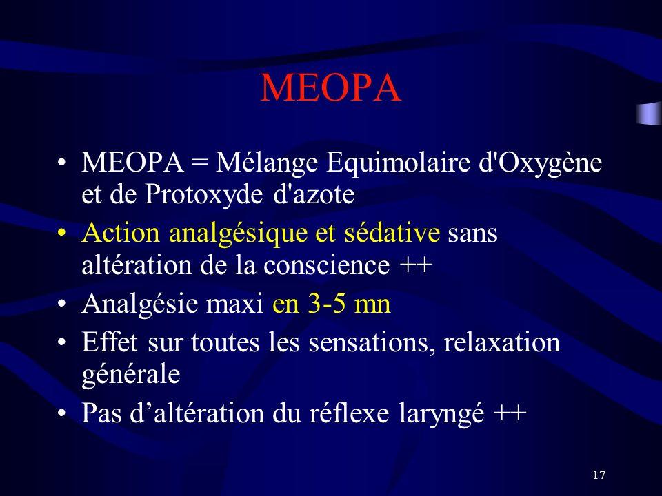 MEOPA MEOPA = Mélange Equimolaire d Oxygène et de Protoxyde d azote