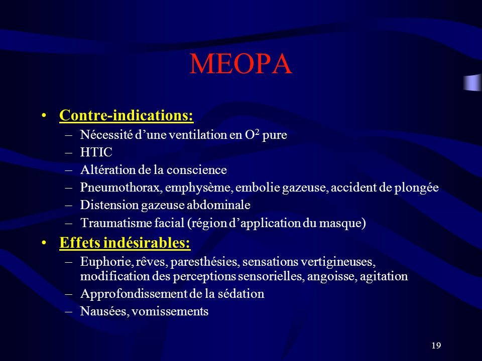 MEOPA Contre-indications: Effets indésirables: