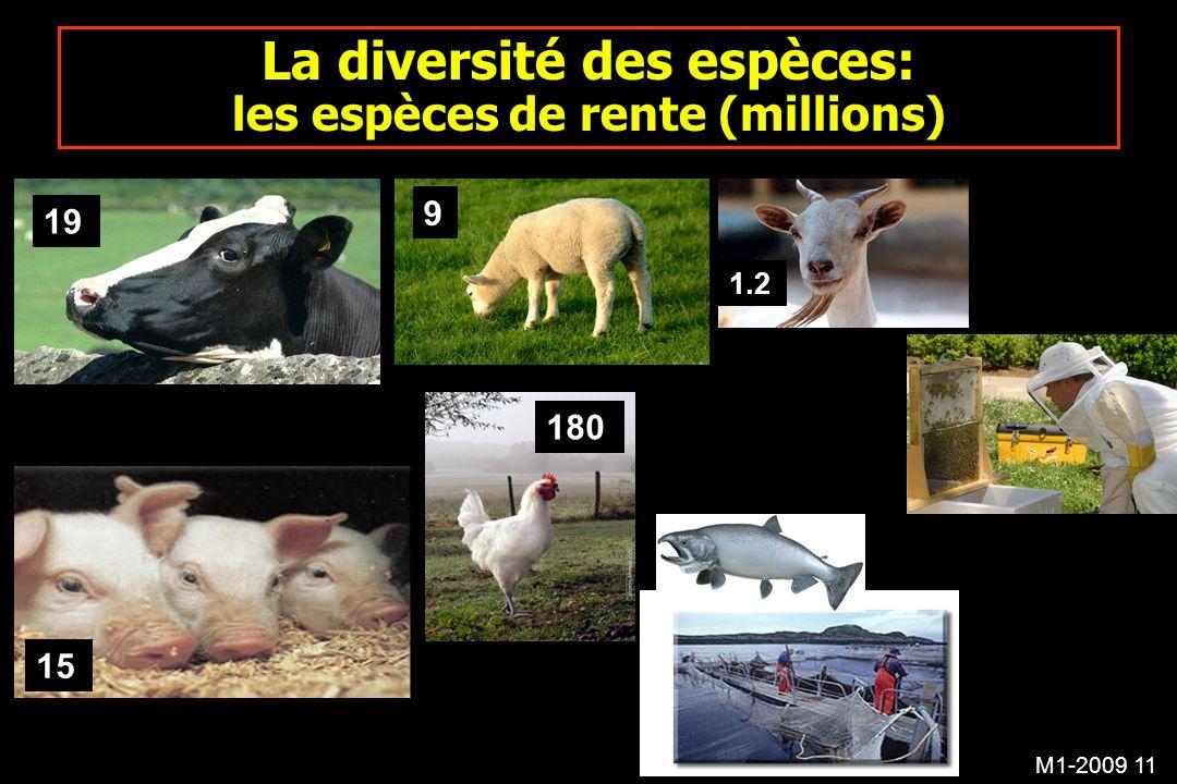 La diversité des espèces: les espèces de rente (millions)