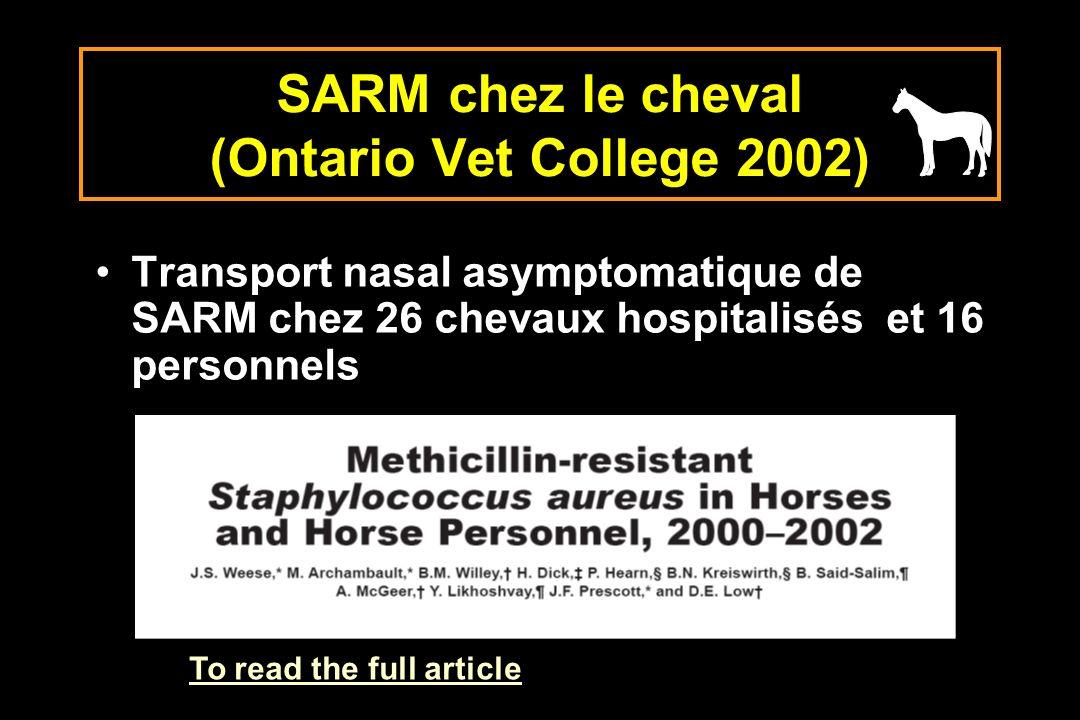 SARM chez le cheval (Ontario Vet College 2002)