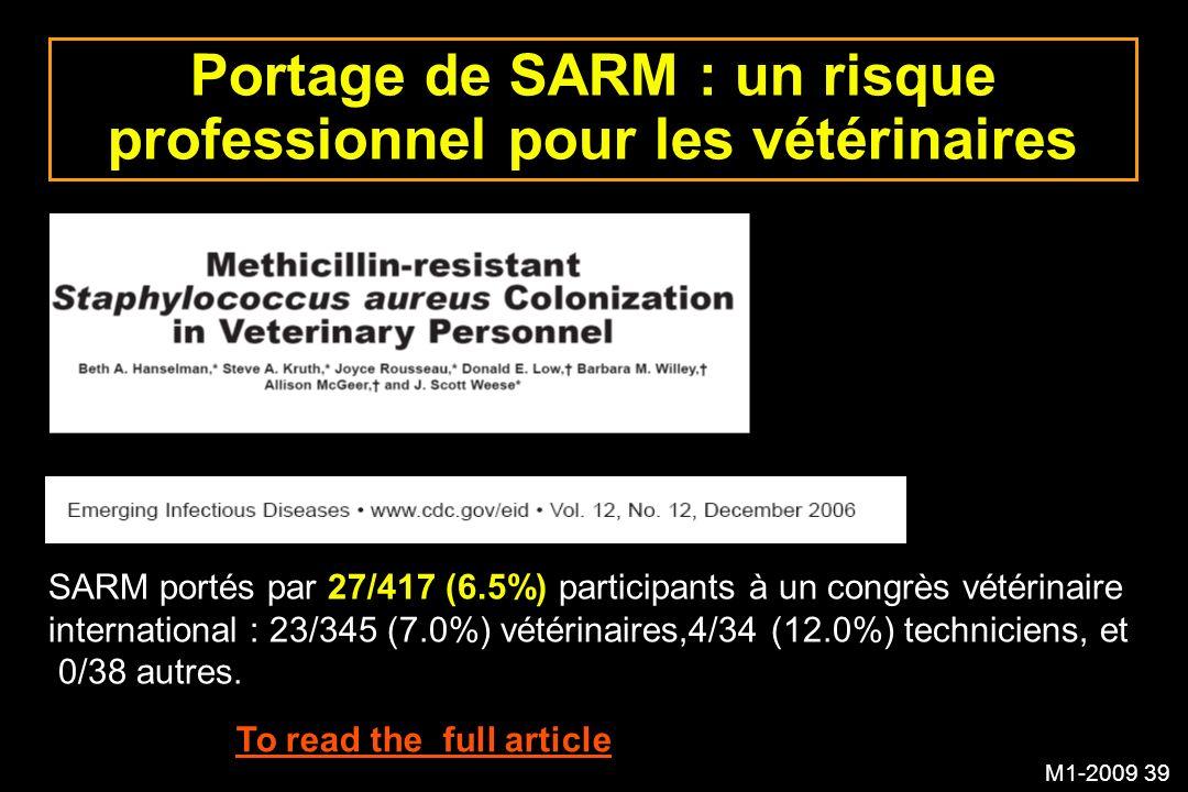 Portage de SARM : un risque professionnel pour les vétérinaires