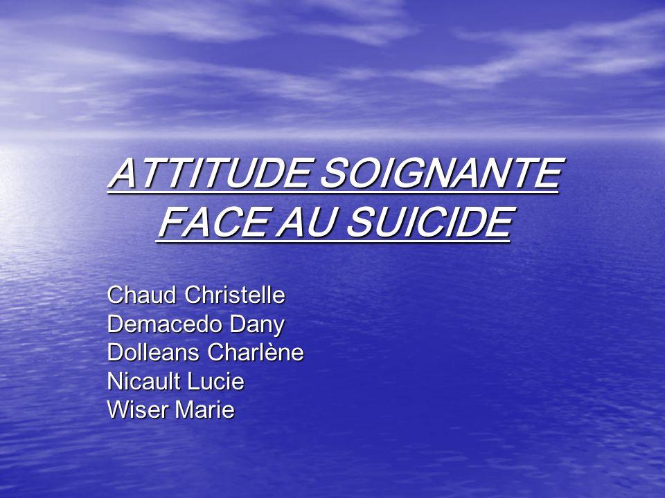 ATTITUDE SOIGNANTE FACE AU SUICIDE