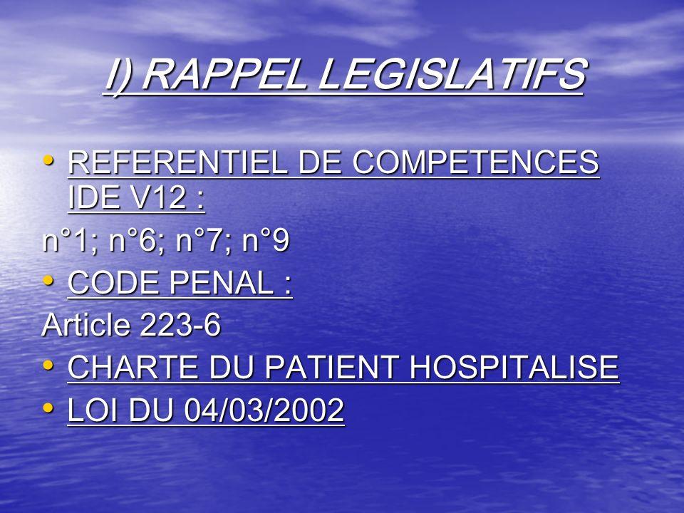 I) RAPPEL LEGISLATIFS REFERENTIEL DE COMPETENCES IDE V12 :