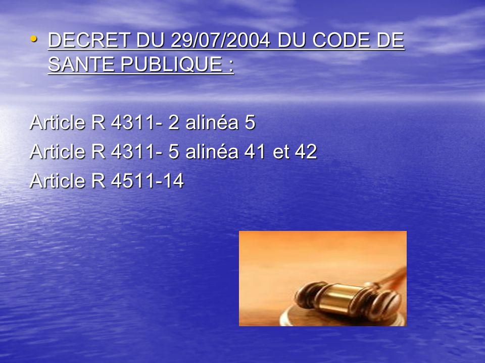 DECRET DU 29/07/2004 DU CODE DE SANTE PUBLIQUE :