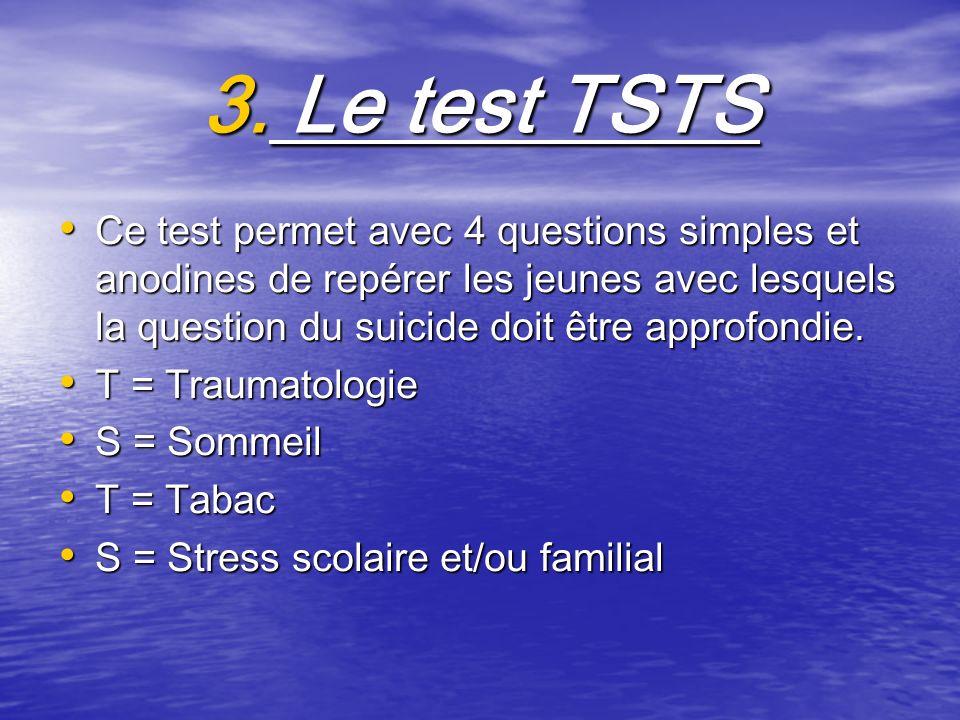 3. Le test TSTS Ce test permet avec 4 questions simples et anodines de repérer les jeunes avec lesquels la question du suicide doit être approfondie.