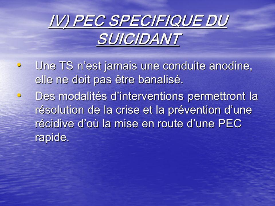 IV) PEC SPECIFIQUE DU SUICIDANT