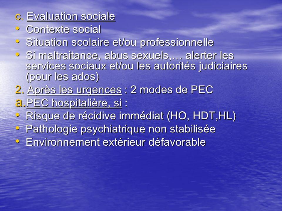 c. Evaluation sociale Contexte social. Situation scolaire et/ou professionnelle.