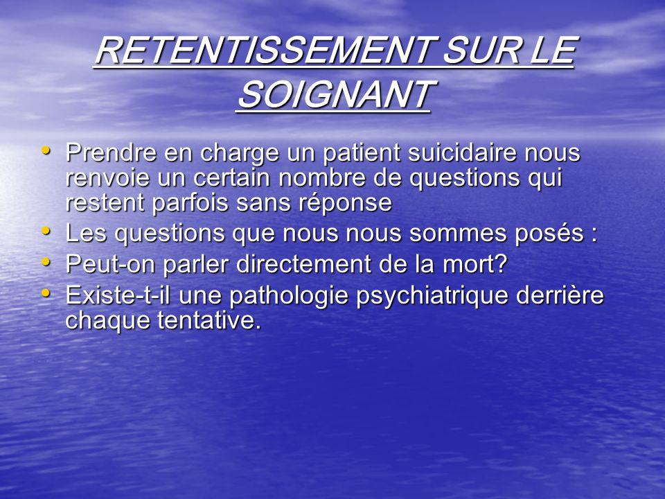 RETENTISSEMENT SUR LE SOIGNANT