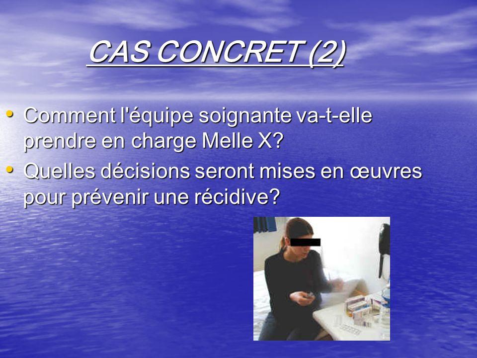 CAS CONCRET (2) Comment l équipe soignante va-t-elle prendre en charge Melle X.