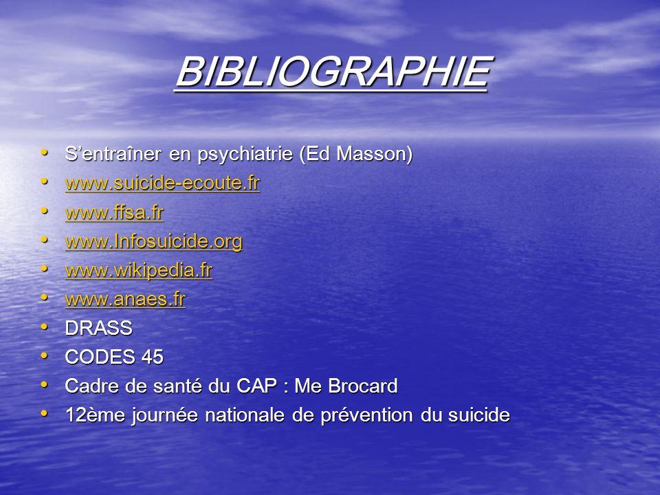 BIBLIOGRAPHIE S'entraîner en psychiatrie (Ed Masson)