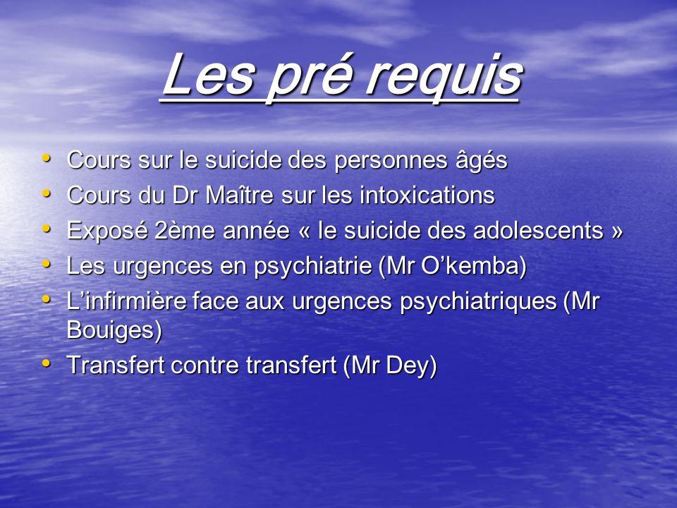 Les pré requis Cours sur le suicide des personnes âgés
