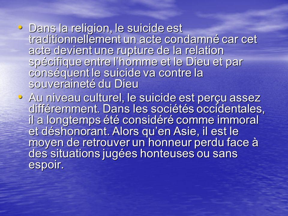 Dans la religion, le suicide est traditionnellement un acte condamné car cet acte devient une rupture de la relation spécifique entre l'homme et le Dieu et par conséquent le suicide va contre la souveraineté du Dieu
