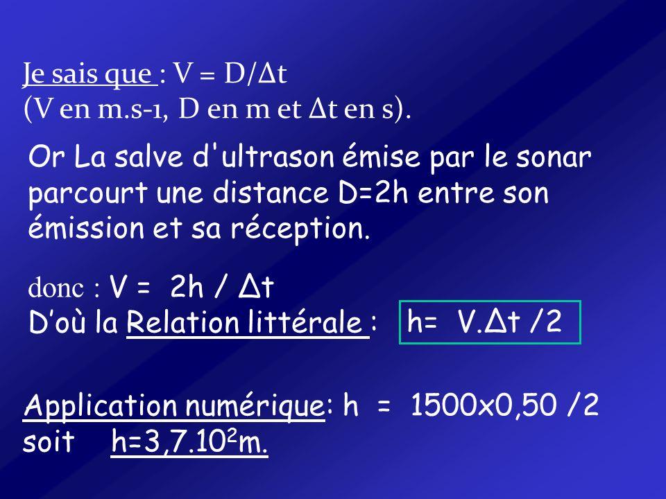 Je sais que : V = D/Δt (V en m.s-1, D en m et Δt en s).