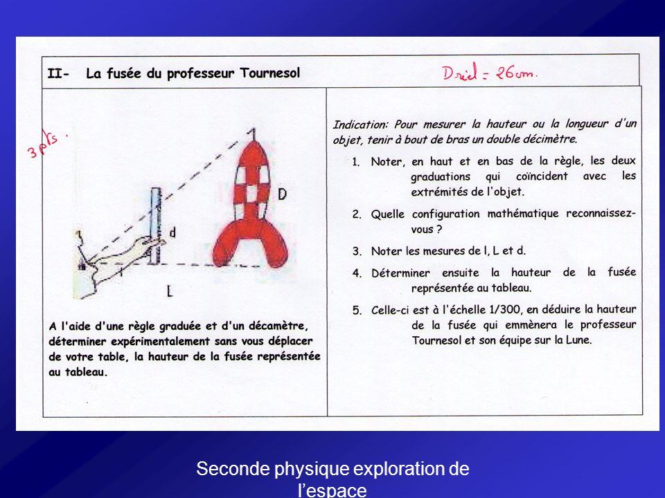 Seconde physique exploration de l'espace
