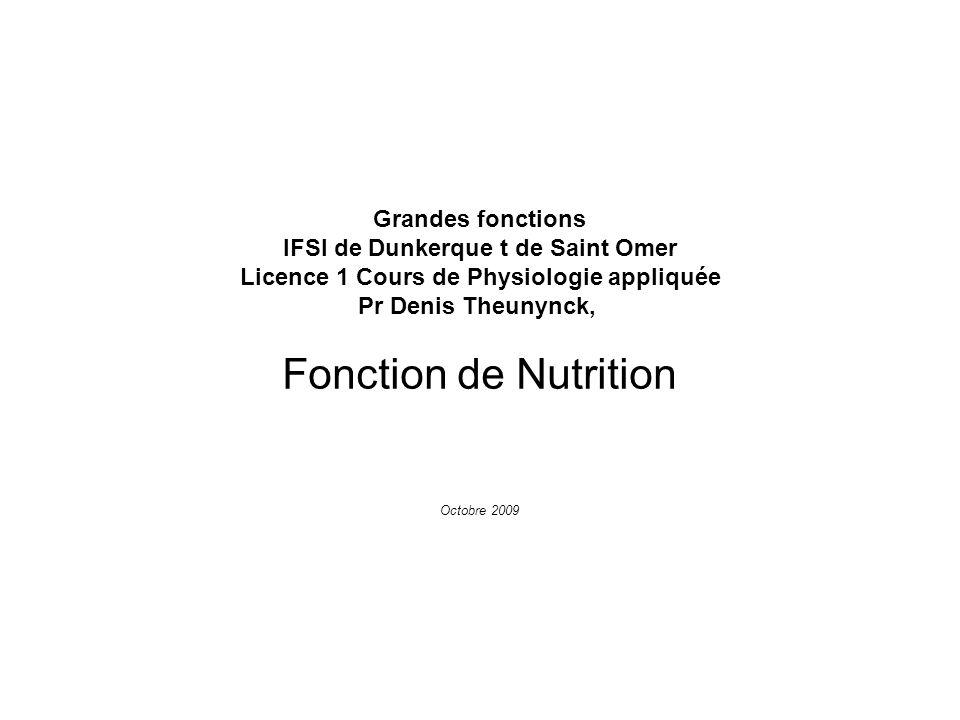 Fonction de Nutrition Grandes fonctions