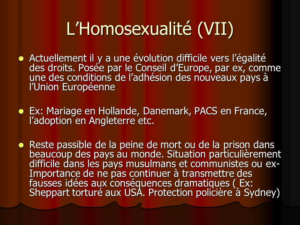 L'Homosexualité (VII)