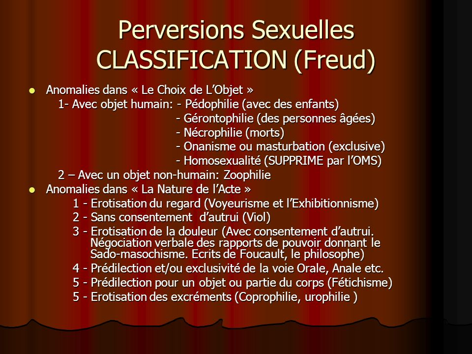 Perversions Sexuelles CLASSIFICATION (Freud)