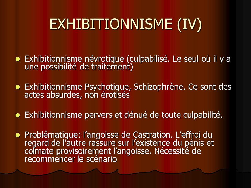 EXHIBITIONNISME (IV) Exhibitionnisme névrotique (culpabilisé. Le seul où il y a une possibilité de traitement)