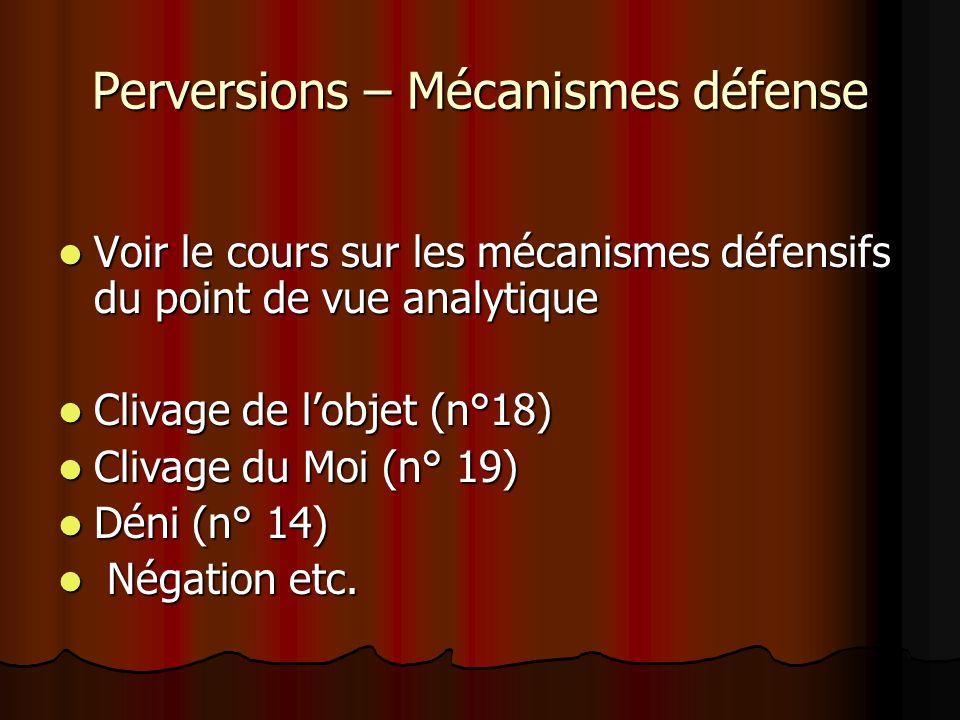 Perversions – Mécanismes défense