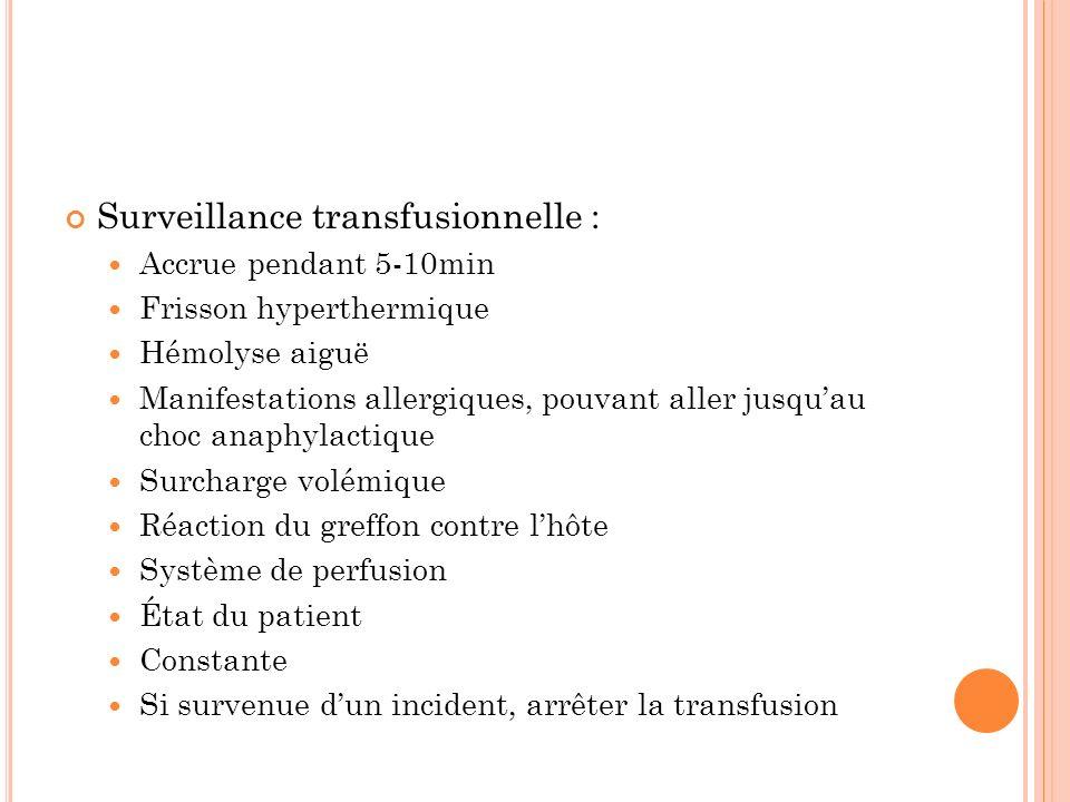 Surveillance transfusionnelle :