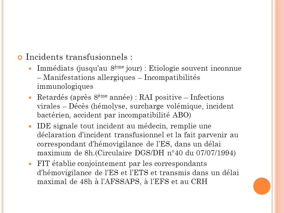 Incidents transfusionnels :