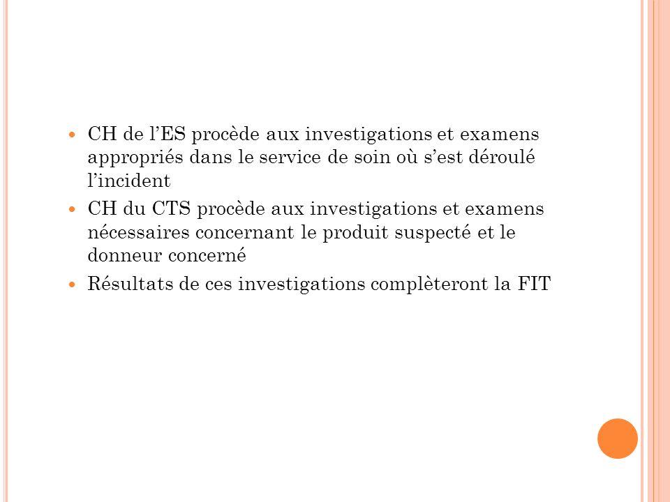 CH de l'ES procède aux investigations et examens appropriés dans le service de soin où s'est déroulé l'incident