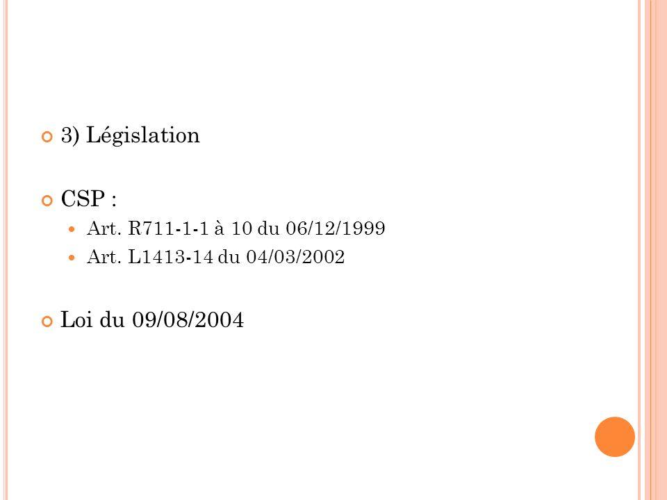3) Législation CSP : Loi du 09/08/2004