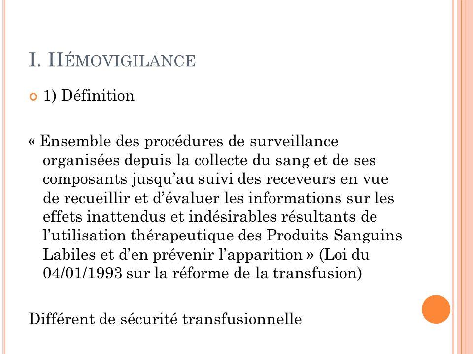 I. Hémovigilance 1) Définition