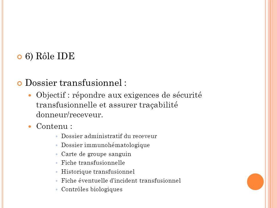 Dossier transfusionnel :