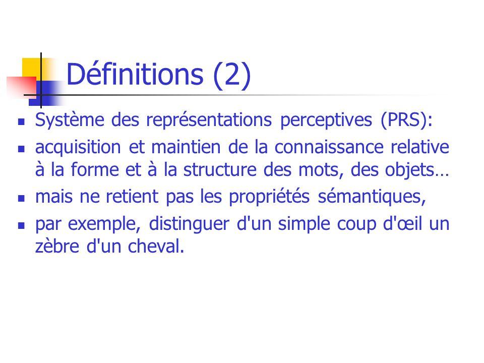 Définitions (2) Système des représentations perceptives (PRS):