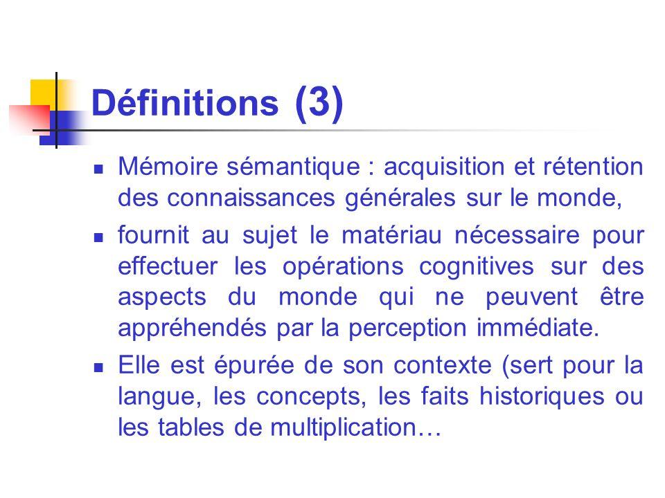 Définitions (3) Mémoire sémantique : acquisition et rétention des connaissances générales sur le monde,
