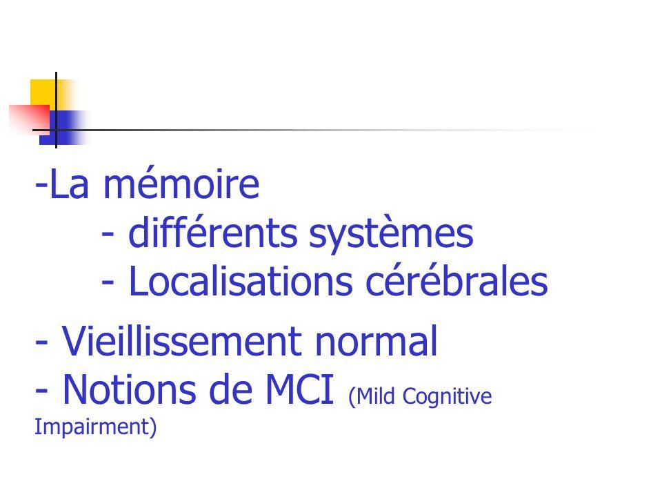 La mémoire. - différents systèmes