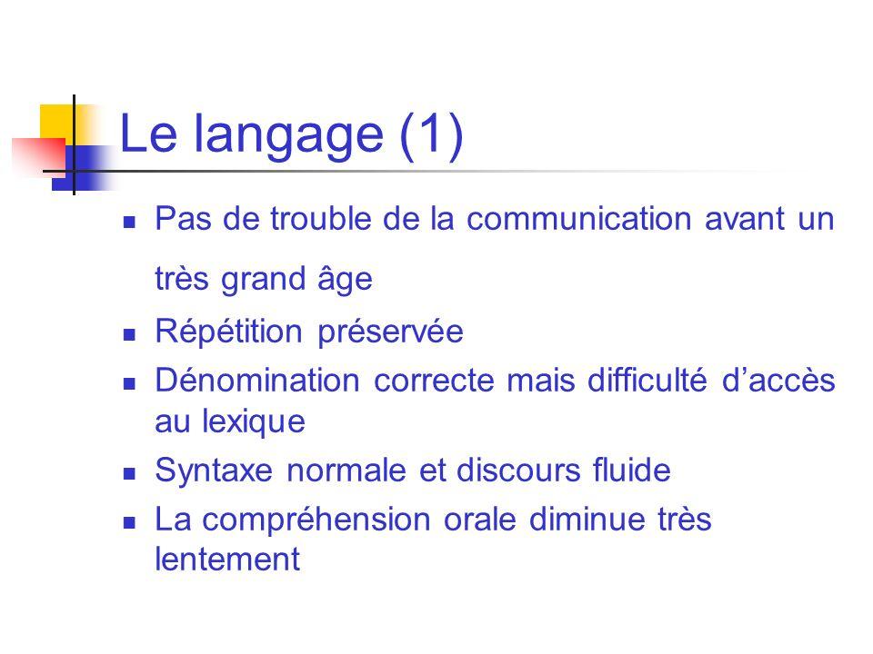Le langage (1) Pas de trouble de la communication avant un très grand âge. Répétition préservée.