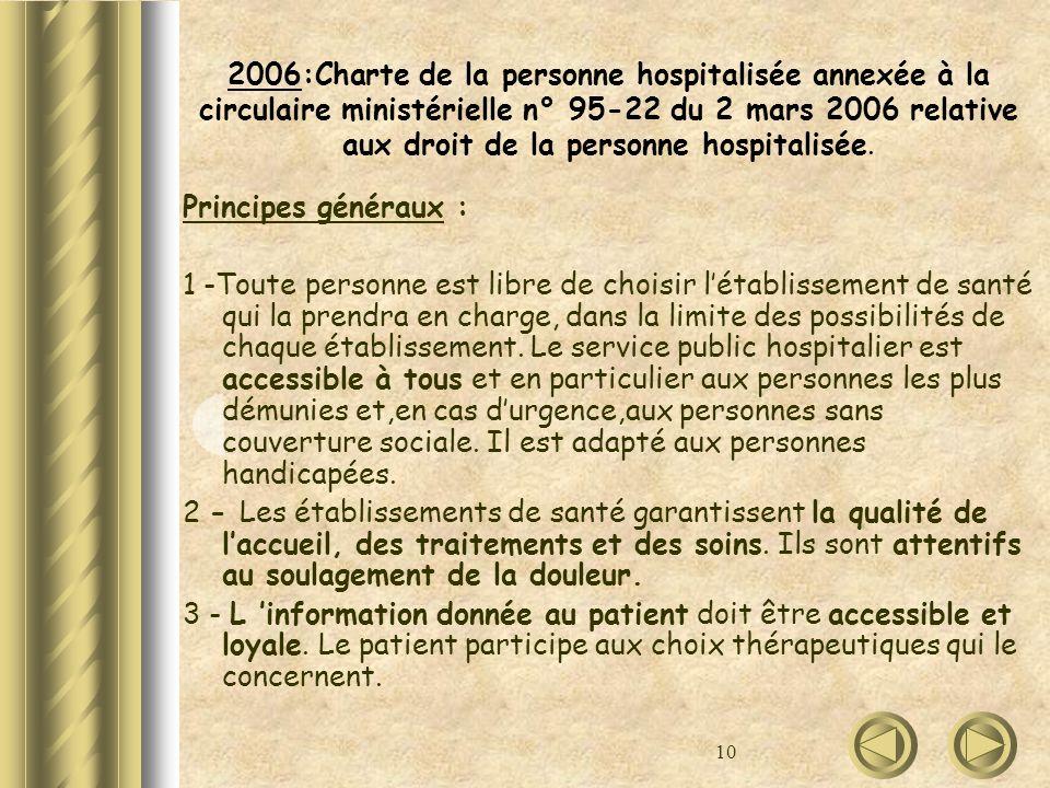 2006:Charte de la personne hospitalisée annexée à la circulaire ministérielle n° 95-22 du 2 mars 2006 relative aux droit de la personne hospitalisée.