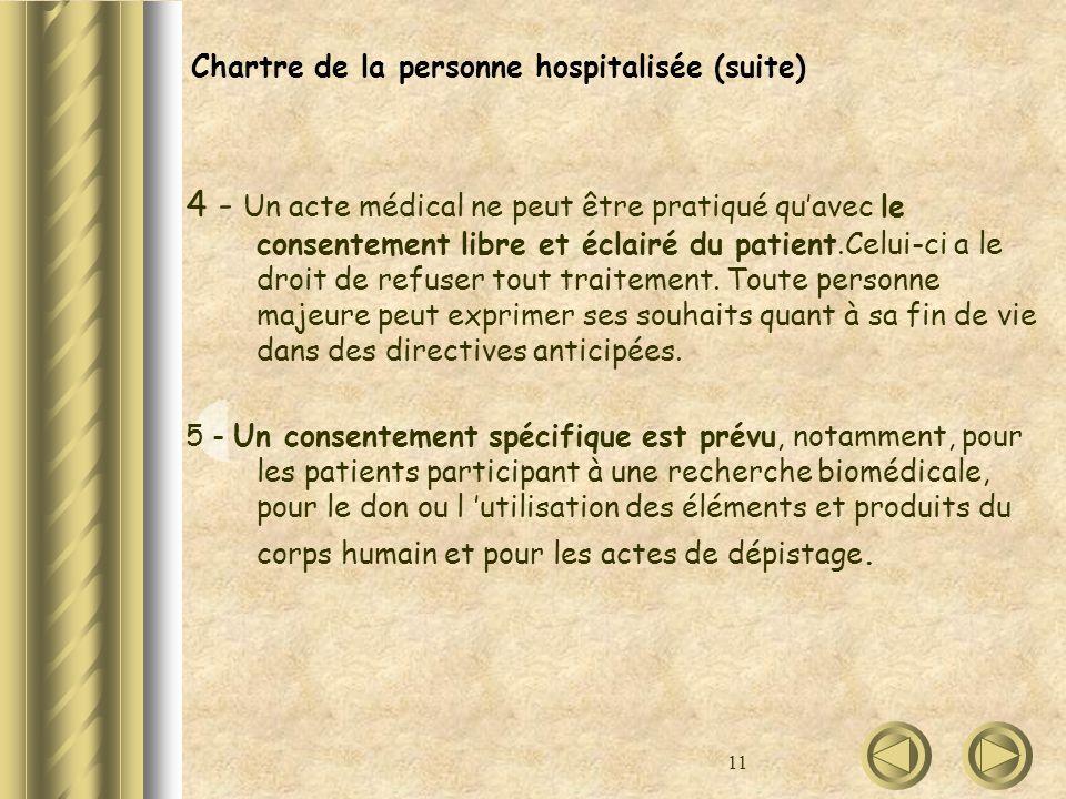 Chartre de la personne hospitalisée (suite)