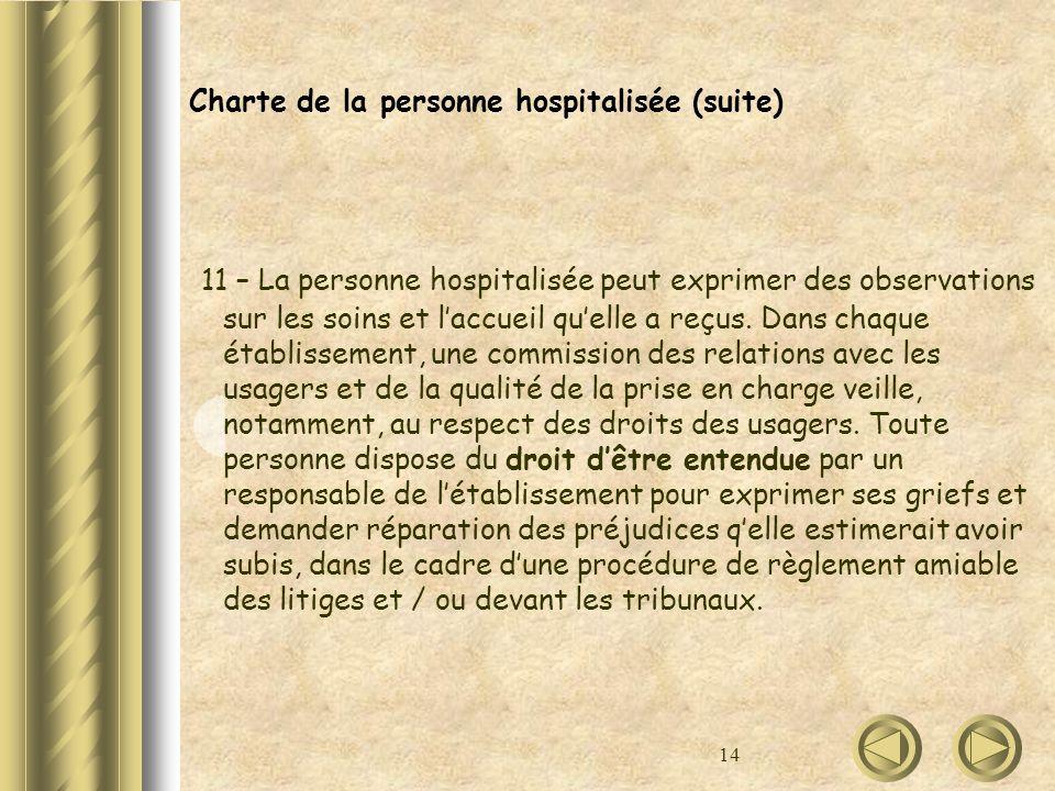 Charte de la personne hospitalisée (suite)