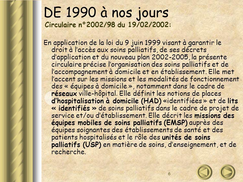 DE 1990 à nos jours Circulaire n°2002/98 du 19/02/2002: