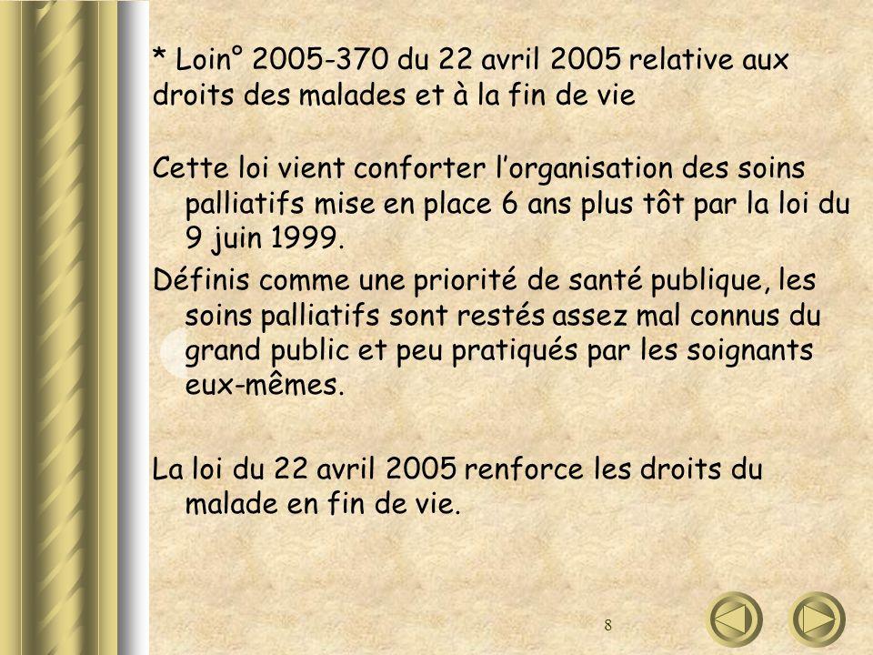 * Loin° 2005-370 du 22 avril 2005 relative aux droits des malades et à la fin de vie