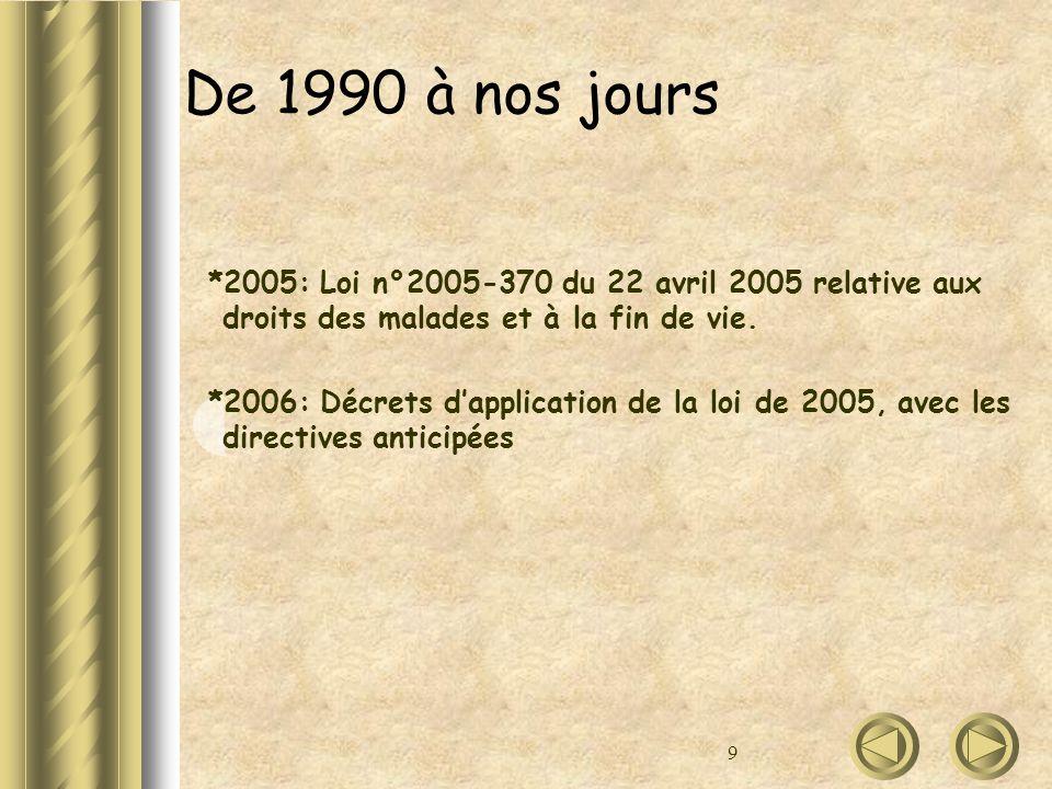De 1990 à nos jours *2005: Loi n°2005-370 du 22 avril 2005 relative aux droits des malades et à la fin de vie.