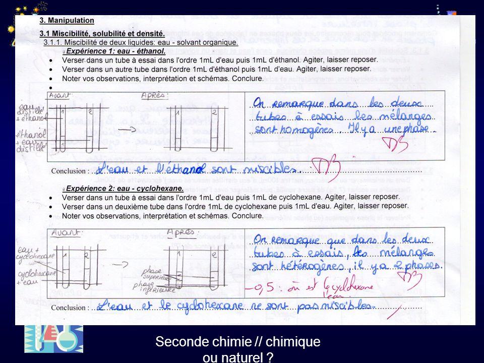 Seconde chimie // chimique ou naturel