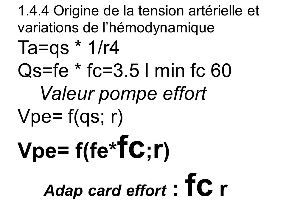 Vpe= f(fe*fc;r) Ta=qs * 1/r4 Qs=fe * fc=3.5 l min fc 60