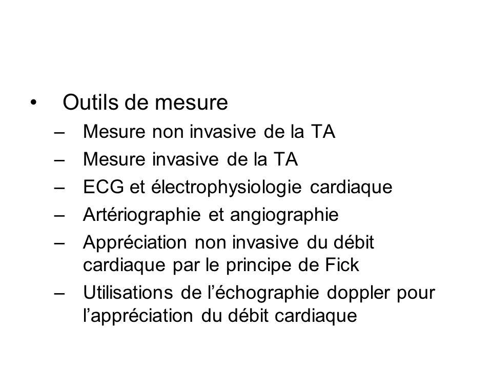 Outils de mesure Mesure non invasive de la TA Mesure invasive de la TA